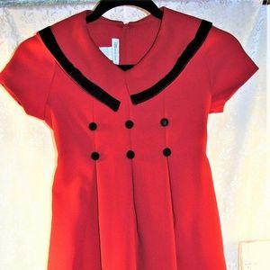 Christmas Dress Red Vintage Bonnie Jean size 8